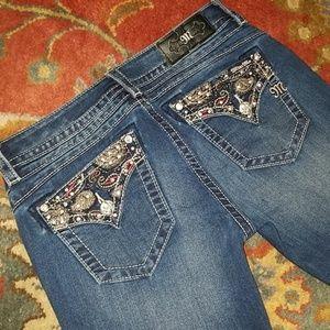 Miss Me Signature Boot Cut Jeans Paisley Pockets